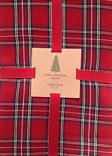 Classic Cotton rt-a102n8 Christmas Red Tartan Set 102 x 60 Tablecloth & 8 Dinner Napkins Royal Stewart Holiday Plaid
