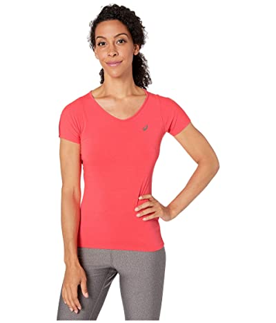 ASICS Short Sleeve V-Neck Top (Laser Pink) Women