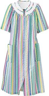 Rainbow-Stripe Plissé House Coat - Misses, Womens