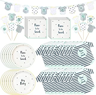Talking Tables Born to Be Loved Party Bundle   Baby Shower Supplies   Party Plates, Napkins in 2 Designs, Garland Banner, and Cake Toppers   Great for Showers, Events, and Parties