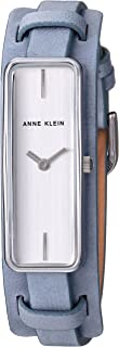 Anne Klein Women's AK/2745SVLB Strap Watch, Silver-Tone and Light Blue Leather