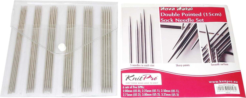 KnitPro Nova 15 cm spitz Needle Sock Set, silber B004LT4YPS