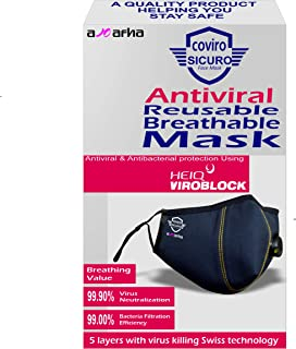 Coviro Sicuro 5 layer Antiviral face mask with virus killing technology & breathing valve, super breathable, reusable & wa...