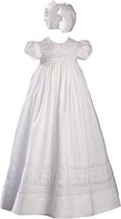 """Little Things Mean A Lot 33"""" White Cotton Short Sleeve Christening Gown Baptism Gown with Hand Embroidery"""