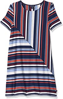 Women's Big Girls' Short Sleeve Striped Dress