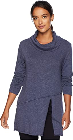 Slubby Sweater Knit Cowl Neck Asymmetrical Front Slit Tunic