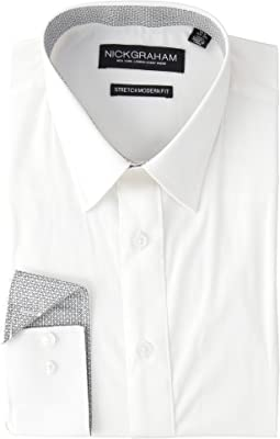 Solid Stretch Point Collar Shirt with Contrast