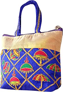 Kuber Industries Embroidery Small Hand Bag, Tote Bag For Women & Girls (Blue)-HS_38_KUBMART21476