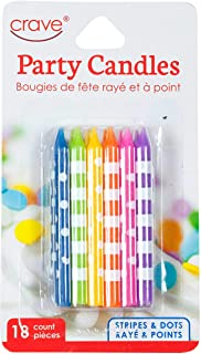 Jacent Fun Polka Dot and Striped Multicolored Birthday Candles, 18 Count per Pack - 1 Pack