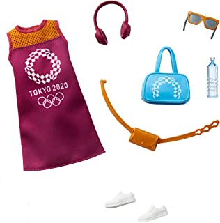 Barbie Storytelling Fashion Pack of Doll Clothes Inspired by The Olympic Games Tokyo 2020: Dress with 6 Accessories Dolls,...