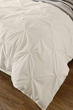 SL SUPREME LINEN 800-TC Ultra Soft 1 Pcs Pinch Pleated Duvet Cover 100% Egyptian Cotton Oversized Super King 120x98 Size, Ivo