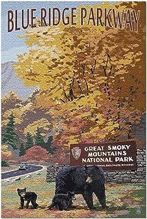 HDブルーリッジパークウェイ-グレートスモーキーマウンテンズパークの入口とクマの家族(米国製52x38CMの大人向けプレミアム500ピースジグソーパズル!)