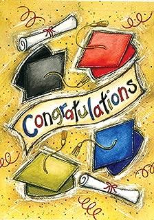 Toland Home Garden Congratulations 12.5 x 18 Inch Decorative Colorful School Graduation Cap Celebrate Diploma Garden Flag