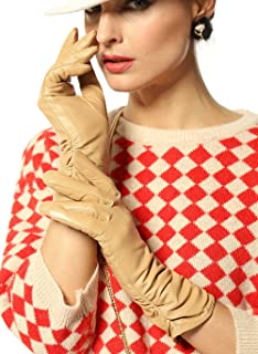 Classic Leather Ruched Evening Dress Winter Gloves Fleece Lined