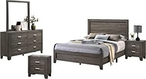 Best Quality Furniture 5PC California King Bed + Dresser + Mirror + 2 Nightstands, Gray