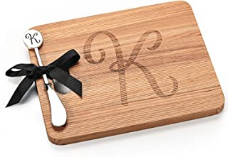 AF Andrew Family Monogram Personalized Engraved Cheese Cutting Board with Initial K Spreader-Personalized Gifts Couples Cutting Board, Wood cutting boards Bridal Shower, Housewarming, and Weddings