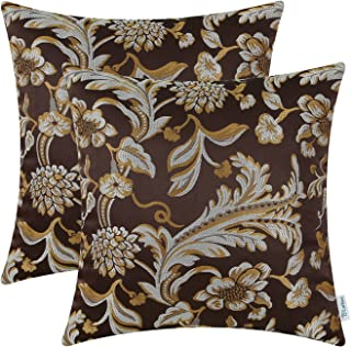 CaliTime Pack of 2 Throw Pillow Covers Cases for Couch Sofa Home Decor Vintage Floral Leaves 18 X 18 Inches Coffee