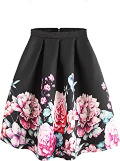 77c634511f SheIn Women's Casual Floral Print Vintage Box A-Line Pleated Midi Skirt