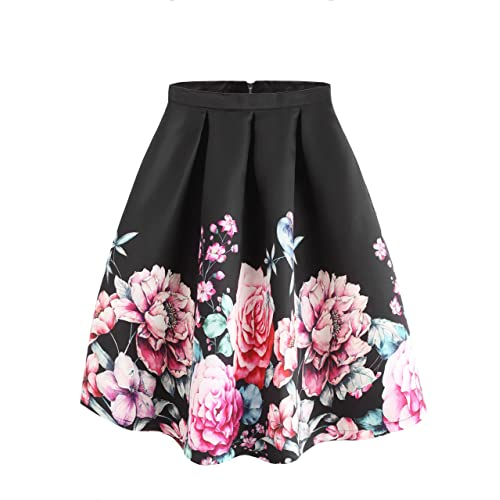 05fd178dff SheIn Women's Casual Floral Print Vintage Box A-Line Pleated Midi Skirt