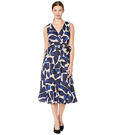 Tahari by ASL Sleeveless Printed Light Weight Twill Midi (Indigo Stones) Women
