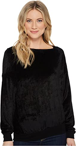 Michael Stars - Velvet Long Sleeve Asymmetric Neck Pullover