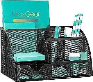 MaxGear Organiseur de bureau en maille avec tiroir, organiseur de bureau en métal noir, 6 compartiments, 22,1 x 14 x 12,7 ...