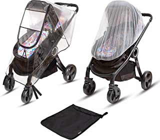 Ritmart Baby Stroller Rain Cover Universal + Mosquito Net (2-Piece Set), Waterproof, Windproof & Ventilation, Premium Travel Weather Shield Accessories, Shower Gift