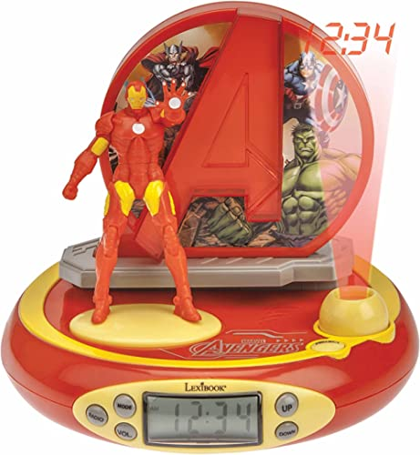 Lexibook - Radio Réveil Projecteur Jeu Électronique, Iron Man, RP510AV