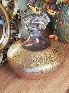 Decantador, carafa 24 k real dorado, vidrio, hecho a mano, arte, dorado, dorado, dorado, hecho en Turquía, elegante, decor...