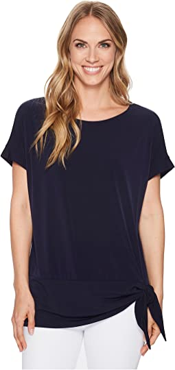 Calvin Klein Short Sleeve with Crepe De Chin Trim & Tie