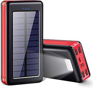 モバイルバッテリー ソーラー 大容量 30000mAh 急速充電 LEDライト 4台同時充電 3in1入力ポート(Lightning/micro USB/Type-C) ケーブル1本で充/蓄電 4USBポート ソーラー充電器 スマホ充電器 携帯...