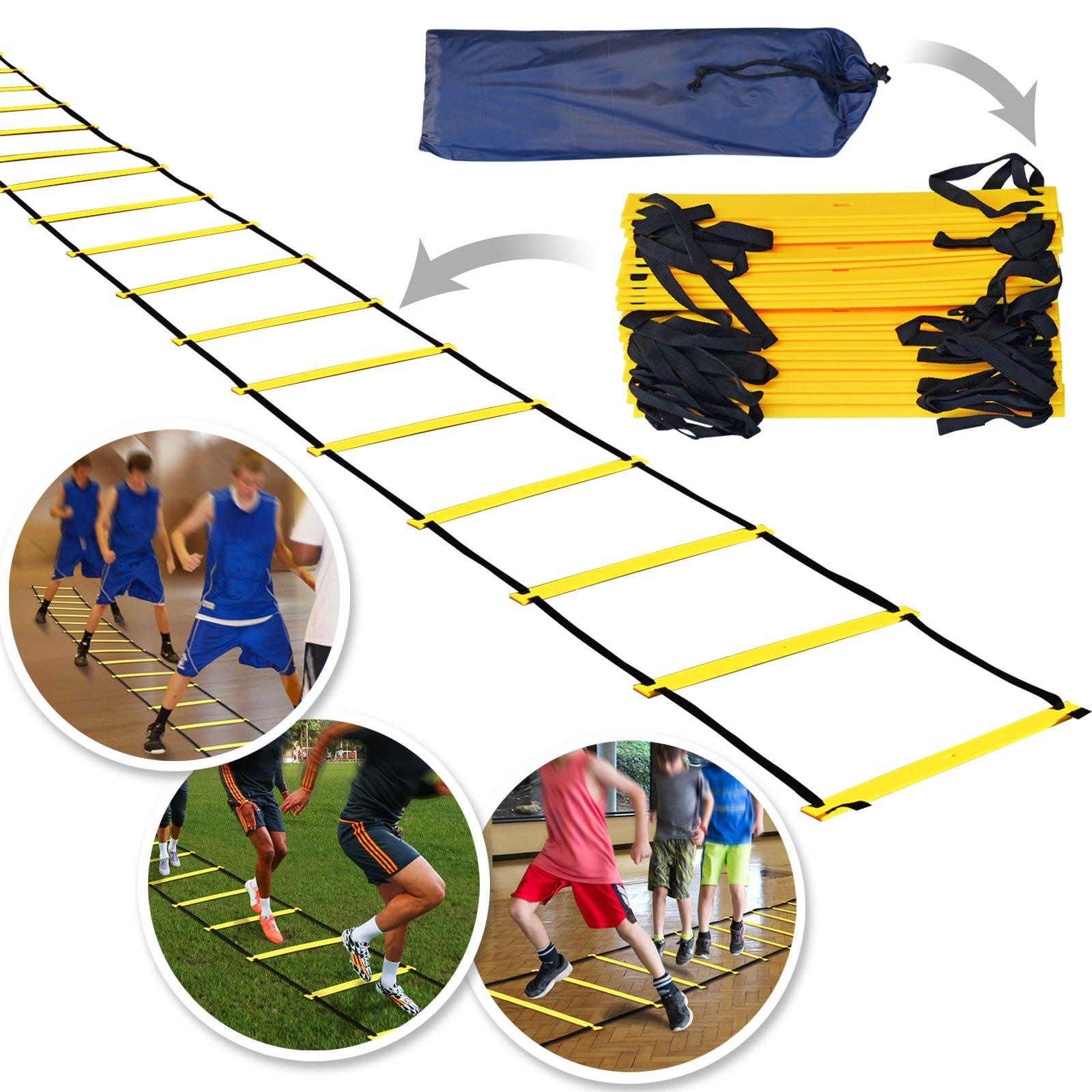 BenefitUSA 8 M 20 peldaños escalera conos agilidad velocidad y fuerza para entrenamiento fútbol fútbol Baloncesto: Amazon.es: Deportes y aire libre
