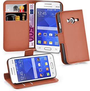 Cadorabo Book Case Works with Samsung Galaxy ACE 4 LITE in Saddle Brown – with Magnetic Closure, Stand Function and Card Slot – Wallet Etui Cover Pouch PU Leather Flip