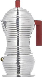 """Alessi MDL02/3 R""""Pulcina"""" 炉灶浓咖啡机 3 杯铝制铸造手柄和花球,红色"""