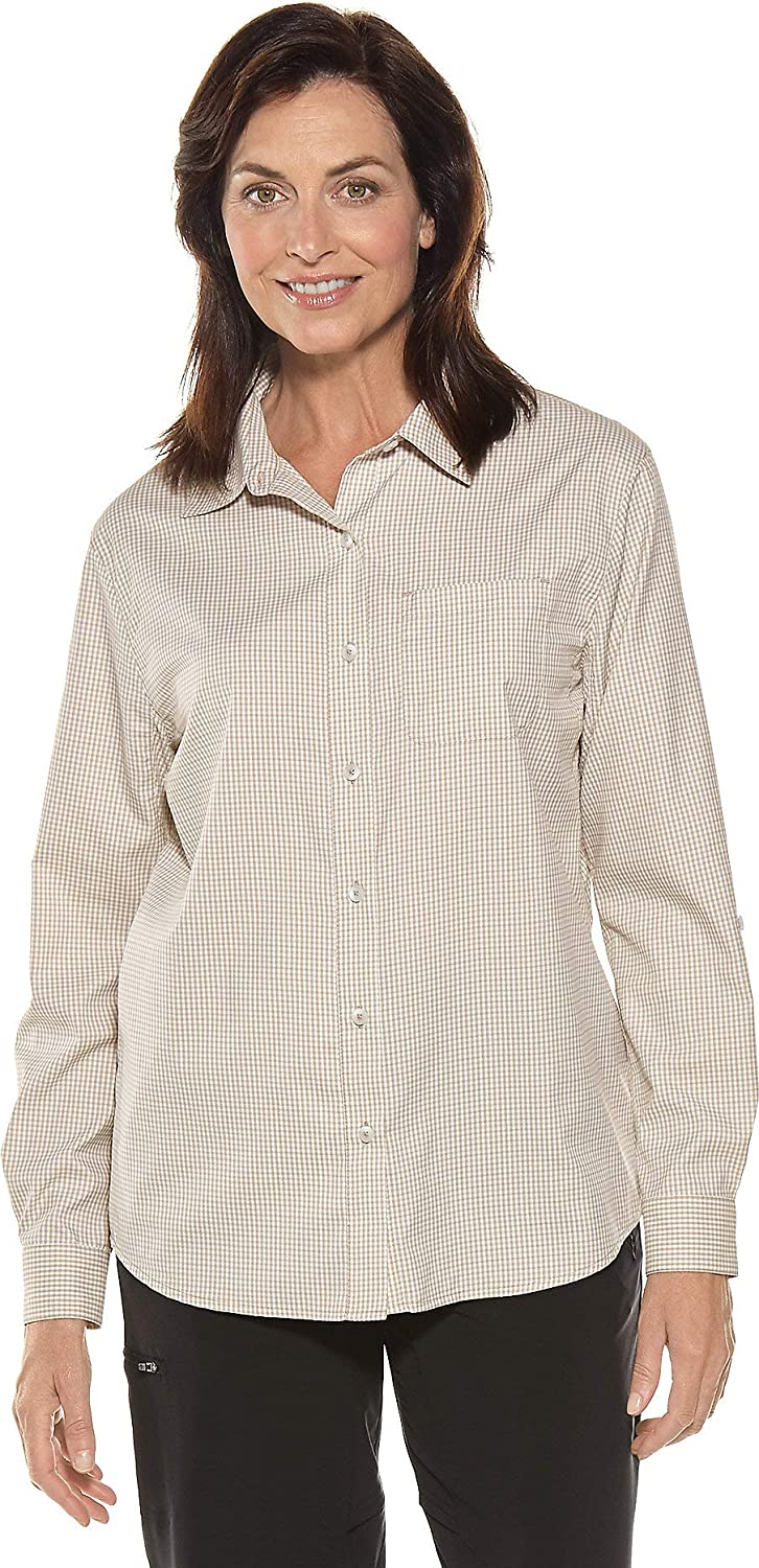 Coolibar UPF 50+ Women's Sun Shirt  Sun Predective (Large Light Taupe Gingham)