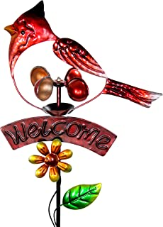 Exhart Red Cardinal Welcome Sign Garden Stake Wind Spinner - Metal Red Cardinal Kinetic Spinners in Red Metallic Coat - Kinetic Art Vertical Wind Spinners in Bird Metal Design, 11 x 36 Inches