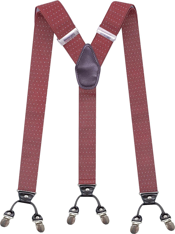 Men's Polka Dots Y Shape Suspenders 1.4 In Width Heavy Duty Braces&6 Metal Clips