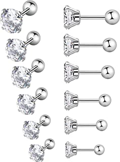 YOVORO 6-12 Pairs 18-20G Stainless Steel Stud Earrings for Men Women Cartilage Ear Piercings Helix Tragus Barbell 3-8mm