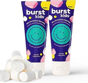 BURSTkids Marshmallow Sparkle Anticavity Fluoride Children's Toothpaste, Safe, Effective, Gentle, Tasty Marshmallow Toothpaste for Kids Ages 3+, Vegan, SLS & Gluten Free (4.0oz), 2 Pack