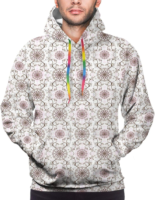 Men's Hoodies Sweatshirts,Pastel Colored Detailed Floral Figures Artistic Cute Sweet Snow Blizzard Pattern
