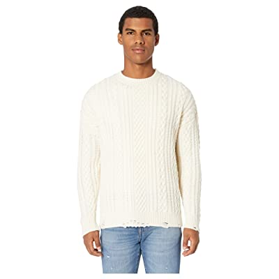 The Kooples Distressed Cashmere Wool Sweater (Beige) Men