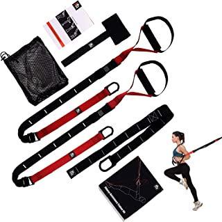 FullFitAble Resistance Straps Trainer Kit - Full Body Workout Fitness Equipment for Home and Gym - with 2 Bands, Extension, Door Anchor and Exercise bodyweight Guide - Light and Portable for Travel