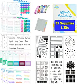 Ultimate Productivity Journal Supplies Kit - 31 Piece Set, Custom-Designed Supplies for Bullet Journals, Includes Stickers, Stencils, Washi Tapes and Sticky Notes by Sunny Streak