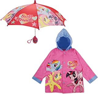 Hasbro Little Girls My Little Pony Slicker and Umbrella Rainwear Set, Age 2-7