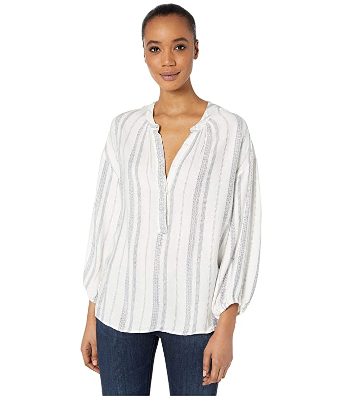 Dylan by True Grit  Denim Friendly Soft Rayon Stripe Tunic Blouse (Natural) Womens Clothing