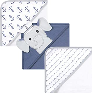 Hudson Baby Unisex Baby Cotton Rich Hooded Towels, Sailor Elephant, One Size