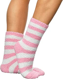 Premium Soft Warm Microfiber Fuzzy Socks, Striped Baby Pink