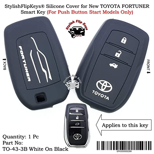 Sfk Silicone Key Cover For New Toyota Fortuner (For Push Button Smart Key Only)