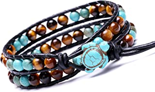 Leather Wrap Bracelet Turtle Turquoise and Tiger Eye Beads Handmade Boho Jewelry Mother's Day Gift