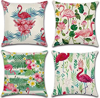 Homyall Flamingo Cushion Covers Square Decorative Pillow Covers Cotton Linen Throw Pillow Covers Set of 4 Cushion Covers 18x18 inch, 4 Packs (Flamingo)
